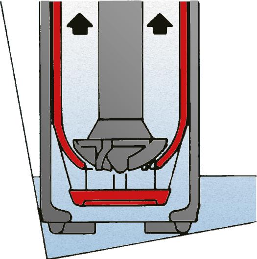 Querschnitt des Pumpenfußes bei offenenem Verschlusstopf und schräg gestelltem Fass