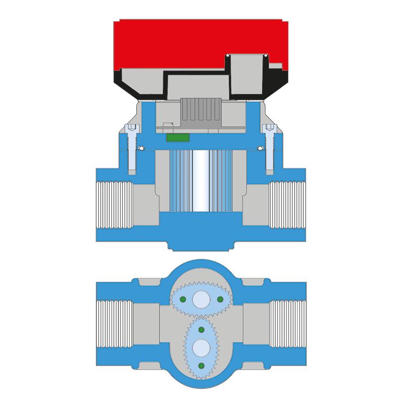 Durchflussmesser | Querschnitt, Funktion Ovalradzähler