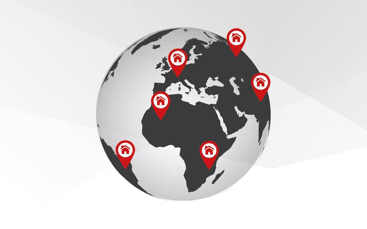 Weltkugel | Standorte aller Niederlassungen von Lutz Pumpen