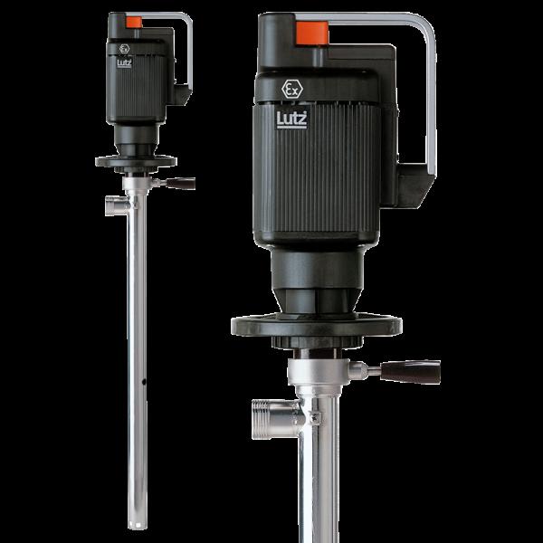 Lutz Elektrische Fasspumpe Niro mit Universalmotor ME zur Restentleerung für Benzin, Lösungsmittel