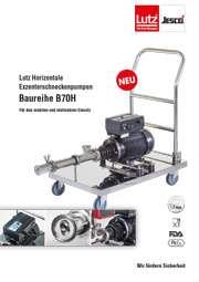 Prospekt Lutz Horizontale Exzenterschneckenpumpe B70H für den mobilen und stationären Einsatz. Pumpe liegend auf Edelstahl-Rollwagen montiert. Detailaufnahmen Frequenzumrichter, Verbindung Motor mit Pumpwerk