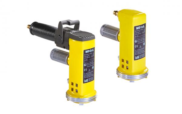 Lutz Druckluftmotore MD1xL und MD2xL mit Griff für Druckluft Fasspumpen