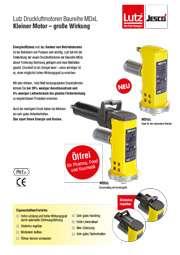 Flyer Lutz Druckluftmotore Baureihe MDxL mit hohem Wirkungsgrad, hoher Leistung | für Druckluft Fasspumpen
