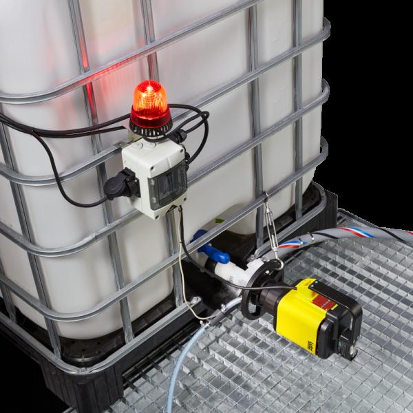 LUTZ Elektrische Containerpumpeset B200 PVDF, IBC Pumpe für Bodenablauf am Container