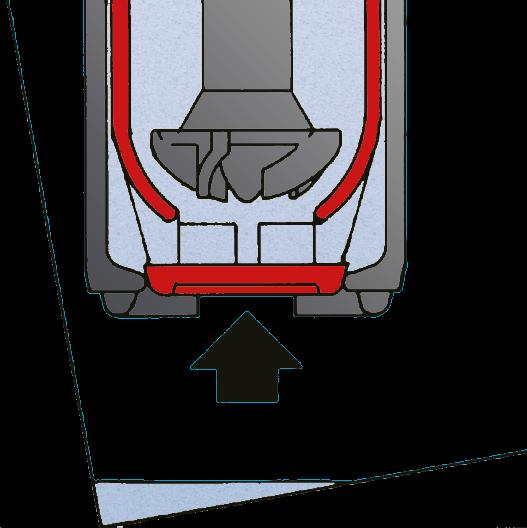 Querschnitt des Pumpenfußes bei geschlossenem Verschlusstopf und schräg gestelltem Fass