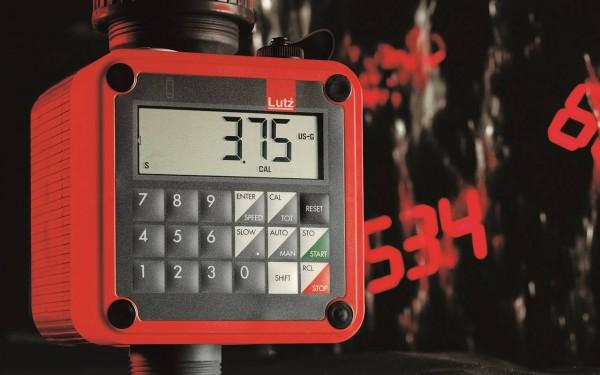 Durchflussmesser TSB mit Tastenfeld - Display zeigt 3,75 Gallonen an