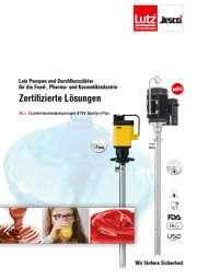 Prospekt Lutz Pumpen und Durchflussmesser für die Pharmazie, Lebensmittel- und Kosmetikindustrie. Flüssige Schokolade, Ketchup, Mädchen mit Brille trinkt Orangensaft