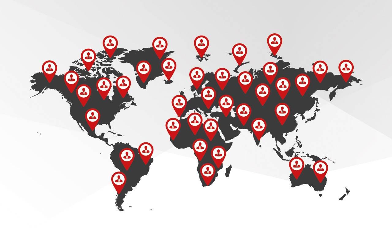Weltkarte | Weltweite Standorte aller Vertretungen von Lutz Pumpen