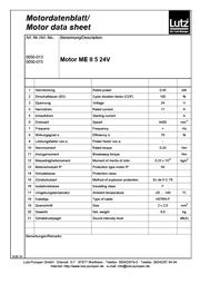 Motordatenblatt in Tabellenform