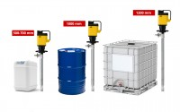 Drum Pumps for Canister, hobbock, Drum and IBC tank in the diving depths 500, 700, 1000 and 1200 mm