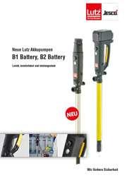 Prospekt Akkubetriebene Fasspumpe B1 Battery, B2 Battery: Leicht, komfortabel, leistungsstark. Detailaufname Griff und Bedienung des B2 Battery Motors. Im Labor werden mit der Fasspumpe B1 Battery Chemikalien in einen Messbecher dosiert.
