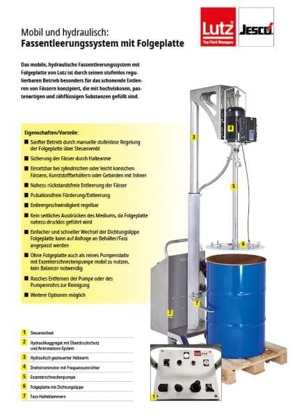 Flyer Lutz Exzenterschneckenpumpe mit Folgeplatte, Pumpe für Lebensmittel, Kosmetik, lebensmittelecht