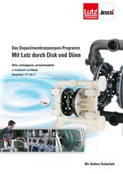 Prospekt Lutz Druckluft-Membranpumpen für dünnflüssige und dickflüssige Medien, für Chemie, Lebensmittel, Säure, Benzin, Diesel