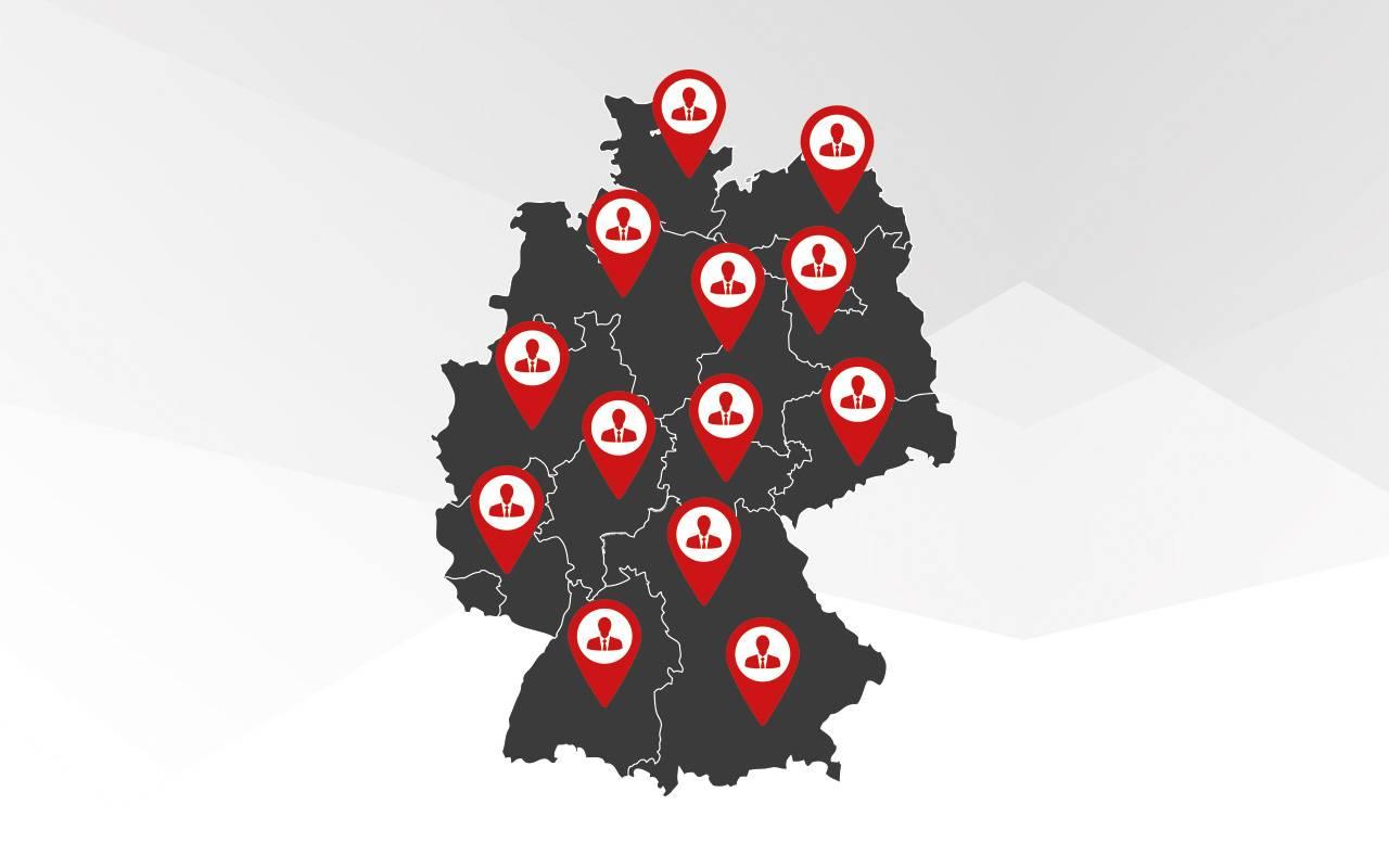 Landkarte mit den Standorten der deutschen Vertretungen von Lutz Pumpen